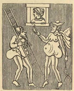 Figura 6. Caricatura greca dell'inganno perpetrato da Giove e Mercurio ai danni della principessa Almena. Immagine tratta dal testo citato di Parton.