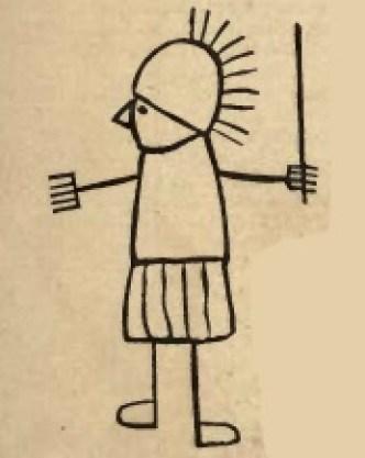 Figura 7. Caricatura del centurione Nonio Massimo rinvenuta su una parete di una caserma di Pompei. Immagine tratta dal testo citato di Parton.
