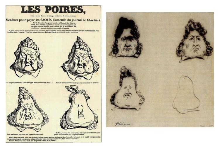 Figura 3. Le Pere. A sinistra la caricatura di Daumier pubblicata su La Caricature del 24 Novembre 1831. A destra l'originale di Philipon del 14 Novembre 1831.
