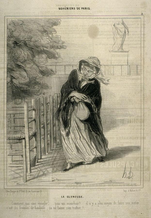 Figura 9. La spigolatrice, La glaneuse. Le Charivari, 20 Novembre 1841. La donna deplora le mogli dei banchieri che non perdono nemmeno un fazzoletto che ella possa ramazzare.