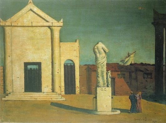 Figura 1. Giorgio De Chirico. L'enigma di un pomeriggio d'autunno, 45 x 60 cm, 1909. Immagine tratta dal sito della Fondazione De Chirico.