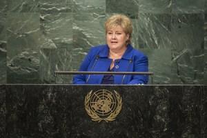 Erna Solberg på talerstolen i FN
