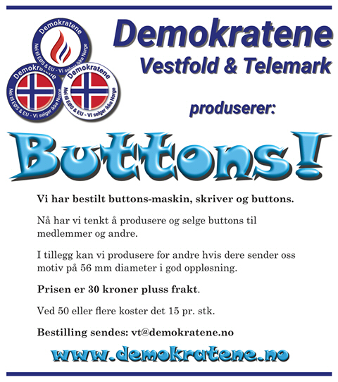 Bestill dine buttons hos oss!