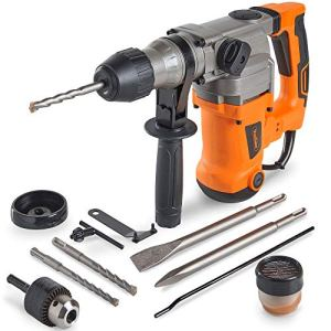 VonHaus 10 Amp Electric Rotary Hammer Drill with Vibration Control, 3 Drill Functions, Variable Speed and Adjustable Handle – Includes SDS Drill Bits Demolition Kit, Flat and Point Chisels with Case