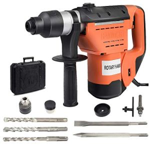 Goplus SDS Rotary Hammer, 1-1/2″ Electric Rotary Hammer Drill with Vibration Control, 3 Drill Functions, Plus Demolition Bits, Includes 3 Drill Bits,Point and Flat Chisel with Case (Orange)