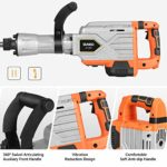 SUNCOO 1900BPM Electric Demolition Jack Hammer 2200W Heavy Duty Jackhammer Powerful Rock Pavement Concrete Breaker Drills Kit with Wheeled Case, Gloves, Goggle and Flat&Point Chisels Bits