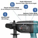 21V Electric Demolition Hammer,3 in 1 Function Heavy Rotary Lithium Battery Demolition Hammer for Drill Holes in Concrete Brick Wall and Stone