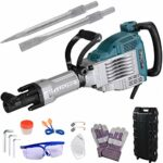 WeChef 3600W Heavy Duty Electric Demolition Jack Hammer with Double Insulated Motor Casing 2 Chisels Case 1800BPM