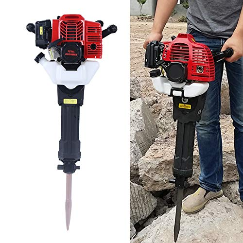 Hand-held Rock Drill,52CC 1500bpm Electric Demolition Hammer Gas Powered Demolition Drill Jack Hammer Heavy Duty Concrete Breaker with Point and Flat Chisel
