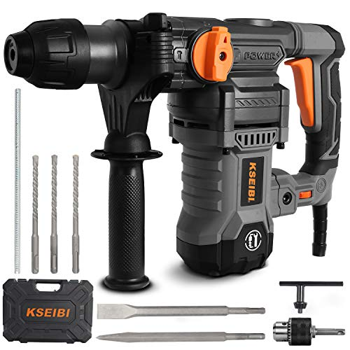 KSEIBI 1-1/4 inch Rotary Hammer Drill, 13 Amp Electric Tools, SDS Plus 4 Functions Reduced Vibration, Variable Speed Drilling, 900RPM, 4350BPM, 7 Joules Impact Rate, Safety Clutch Combo Kit (KBH 6-32)