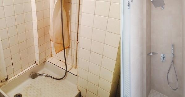 AvantAprs  une salle de bains presque insalubre devient un lieu douillet