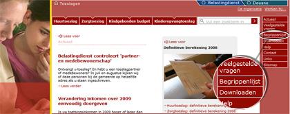 Ingang Begrippenlijst op Toeslagen.nl
