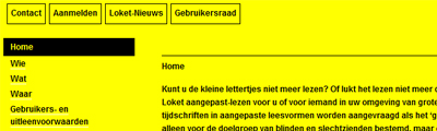 Een website in zwart-geel contrast
