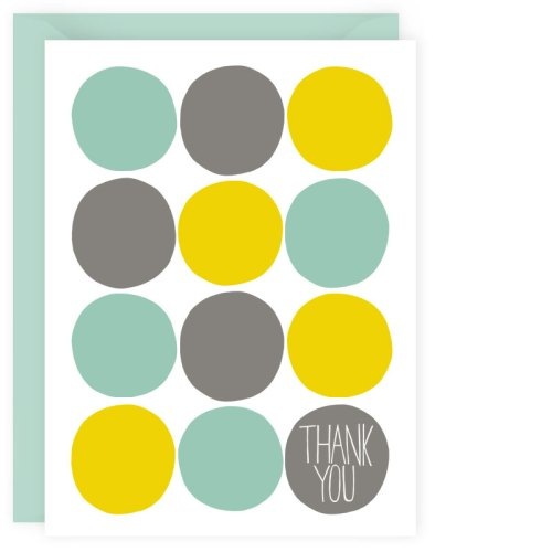 aqua + yellow dots thank you card