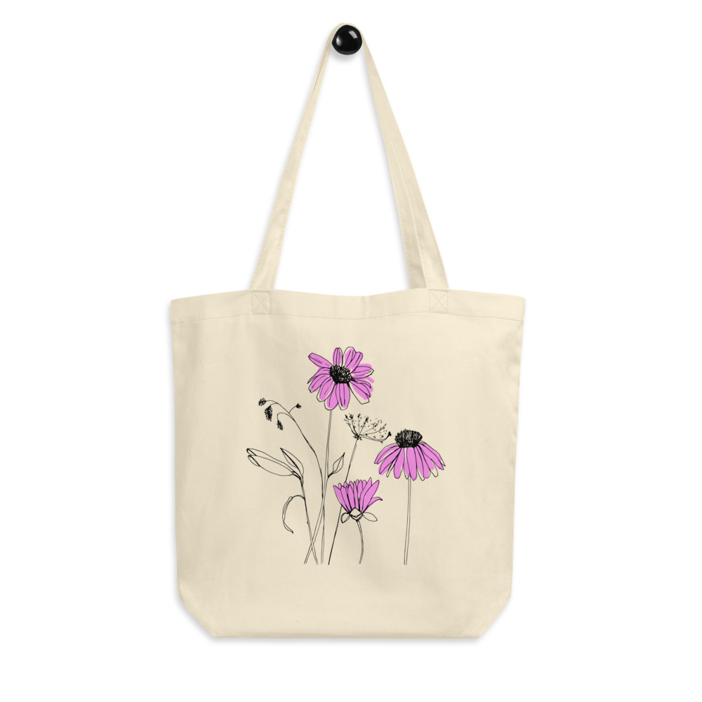 Recycled Materials Grow with Flowers Canvas Tote Bag Organic Tote Bag