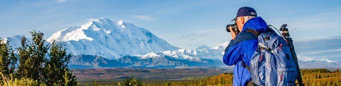 Photographing Mount McKinley in Denali National Park, Alaska.