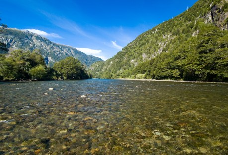 Wide water on the Rio Cisnes.