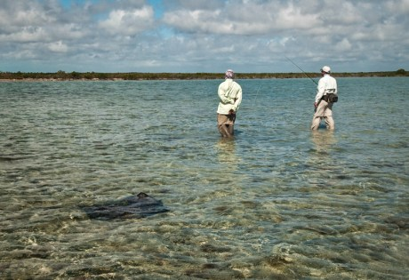 Wading a Flat with a Ray by Louis Cahill Photography