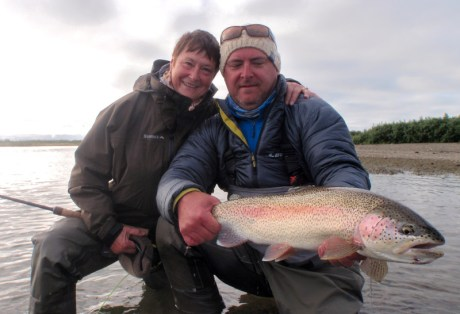 Stuart Foxall with Trout from Alaska West