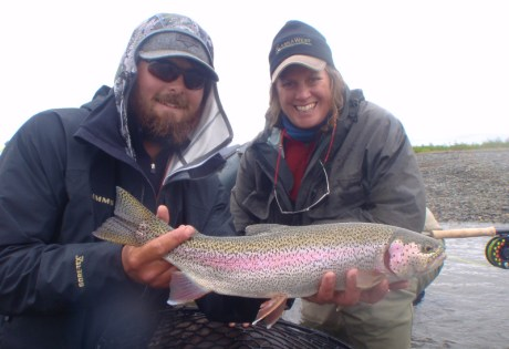 Fly fishing for trout at Alaska West.