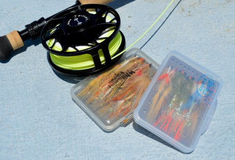 Thin fly boxes used when wading for bonefish