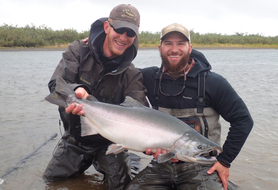 Fly fishing for big silver salmon.