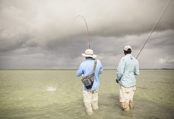 Fly fishing for bonefish in cloudy weather by Hollis Bennett.