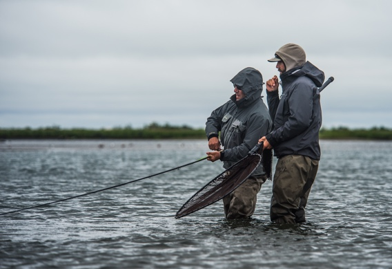 Fighting king salmon on a spey rod.
