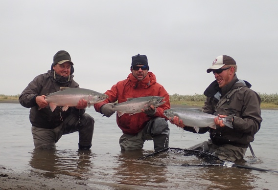Fly fishing for silver salmon.