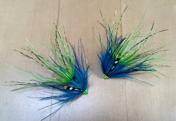 Selecting fly color for king salmon.