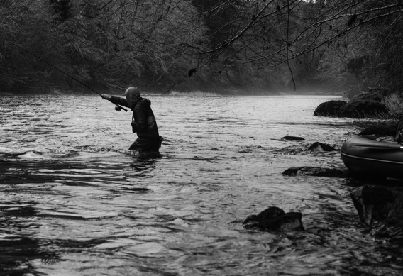 Kyle Shea spey fishing for steelhead by Nick Chambers.