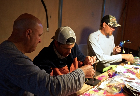 Jerry French and Stuart Foxall fly tying at Alaska West.