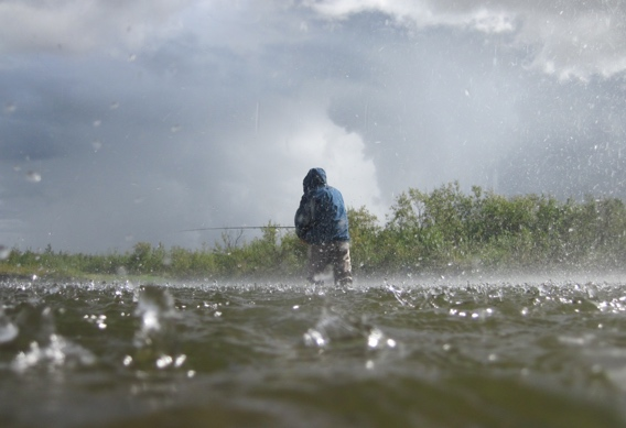 Fly fishing in the rain.