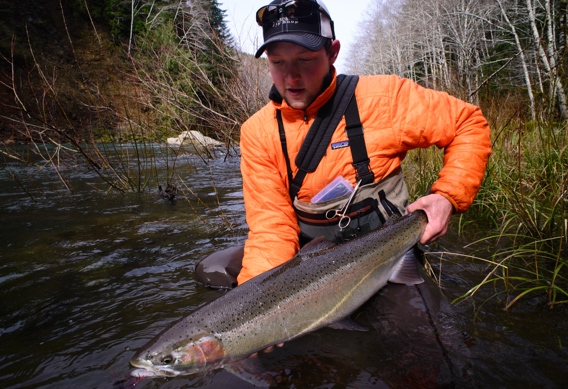 Fly fishing for steelhead.