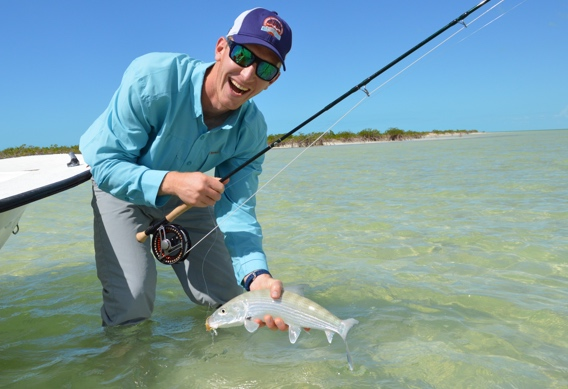 Fly fishing for bonefish at Andros South.