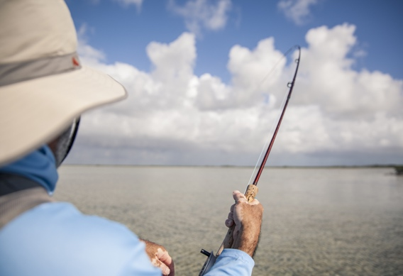 Fighting bonefish by Hollis Bennett