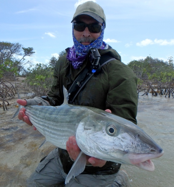 Peter Viau with a big bonefish from Andros South