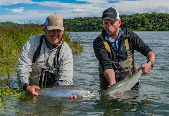 Fly fishing the Naknek River for rainbow trout by Abe Blair
