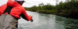 Fly fishing from a boat
