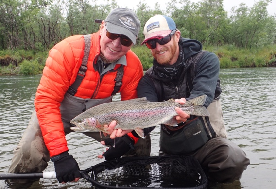 Kyle shea and Dan V. with rainbow trout at Alaska West