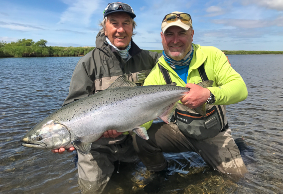 King salmon on spey rod at Alaska West