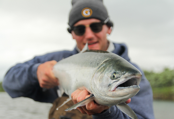 Fly fishing for silver salmon