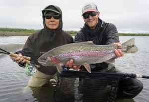 Min Ichiho and kyle shea with a big leopard rainbow trout