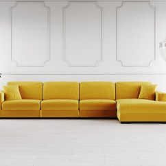 Emerald Corner Sofa Bed Sleeper Slipcover Full Yellow Velvet Baci Living Room