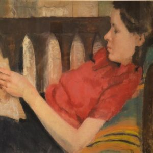 HELEN-INEZ-SEIBERT-BROOKS-(1914--1987)-Young-Woman-in-Red-Sweater-Reading