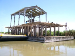 all concrete two level production facility barge