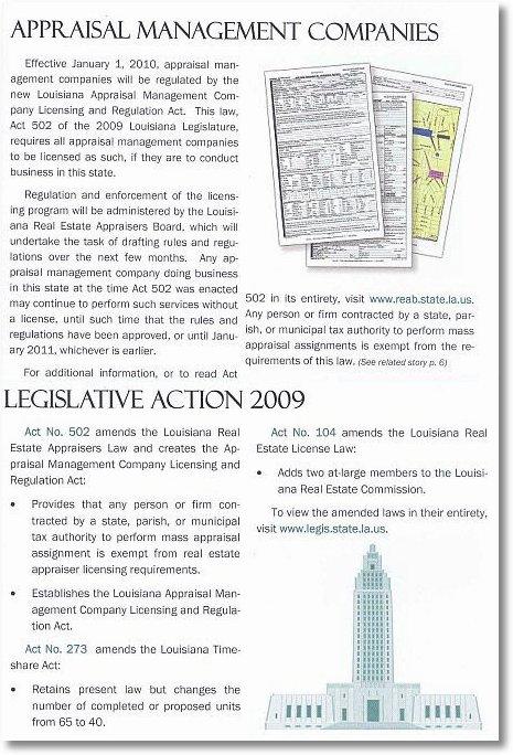 Baton Rouge FHA Appraisers LREC AMC Leglislation Passed