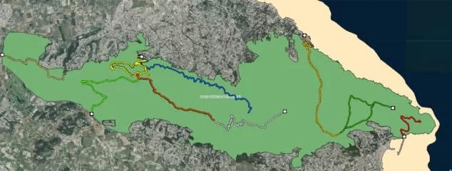 Imagen: Rutas hacia las cuevas del Montgó (Fuente: Institut Cartogràfic Valencià)