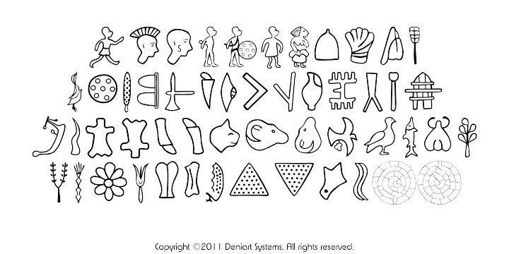Deniart Systems: The Minoan Phaistos Disk Symbol Font