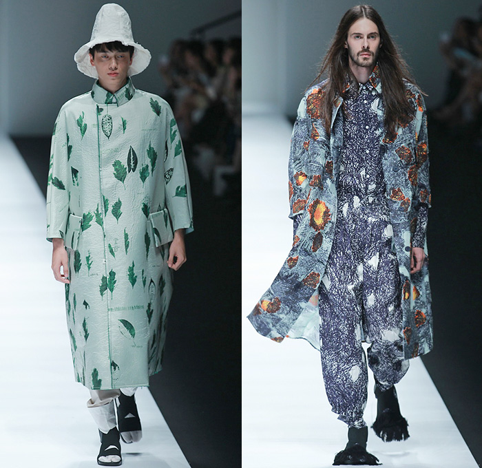 BANXIAOXUE 2015 Spring Summer Mens Runway Catwalk Looks - Shanghai Fashion Week China - Androgyny Sheer Chiffon Wide Leg Culottes Manskirt Sweater Jumper Shirt Outerwear Oversized Long Coat Chunky Knit Shirtdress Lace Mesh Bomber Jacket Leaves Foliage Fauna Scribbles Bucket Hat Embroidery Flowers Florals Crochet Weave Shorts Leggings Black White Ensemble Pleats Ruffles
